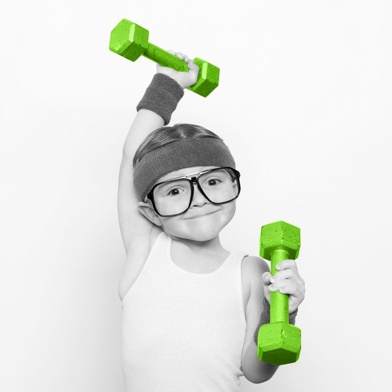 Image Across boy with dumbbells