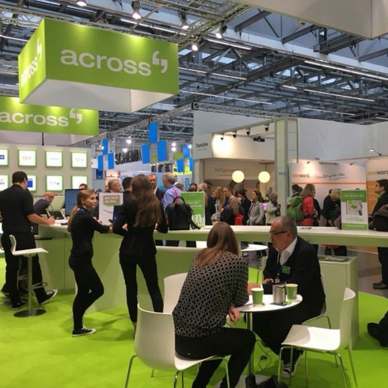 tekom annual conference: The newly designed booth provided more space for conversations with the Across team (Source: Across Systems GmbH)
