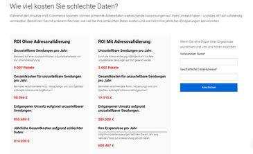 Bild vom E-Commerce ROI Calculator von Melissa