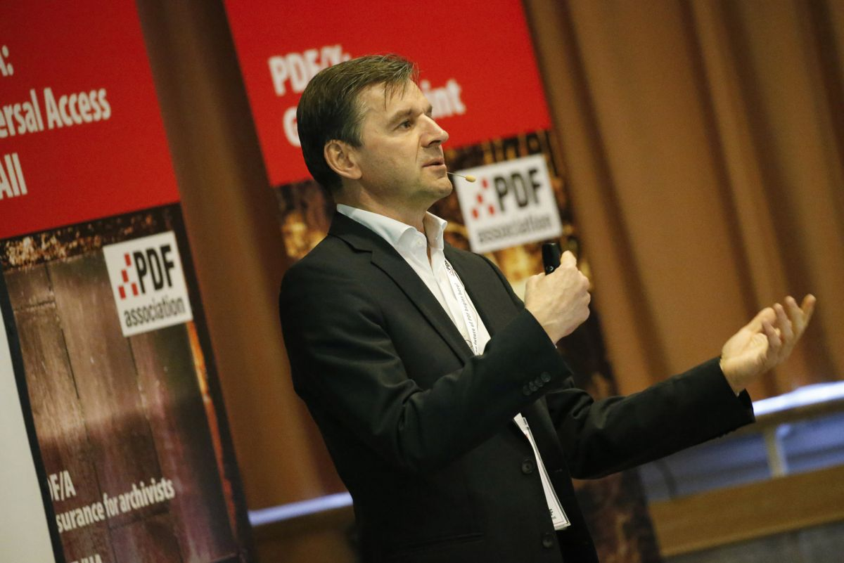 Dietrich von Seggern, CEO of callas software GmbH, at the PDF Days Europe 2017 (Source: PDF Association)