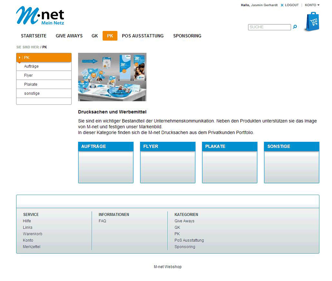 Screenshot M-net shop for promotional materials