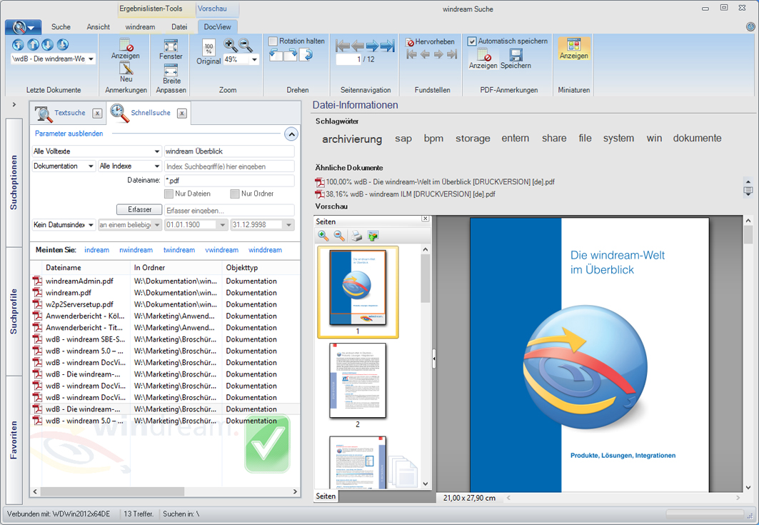 Screenshot: Die Schnellsuche in windream 5.5 (Quelle: windream GmbH)