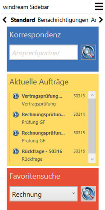 Die neue Sidebar in der windream 6.5 Business Edition