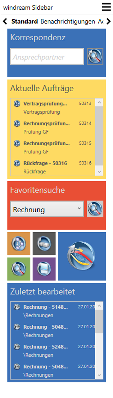 Screenshot der Sidebar in windream 6.5